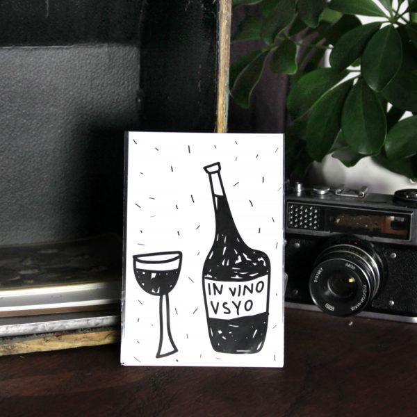 Открытка «In vino vsyo» Морда Довольна