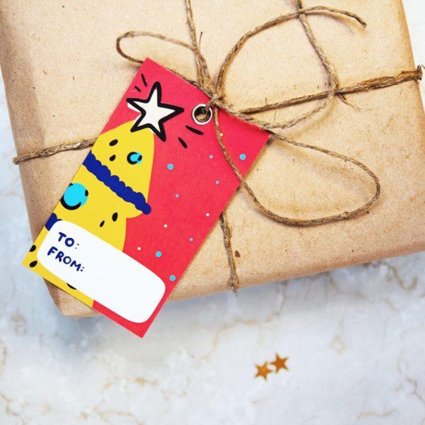 красивые новогодние бирки для упаковки подарков