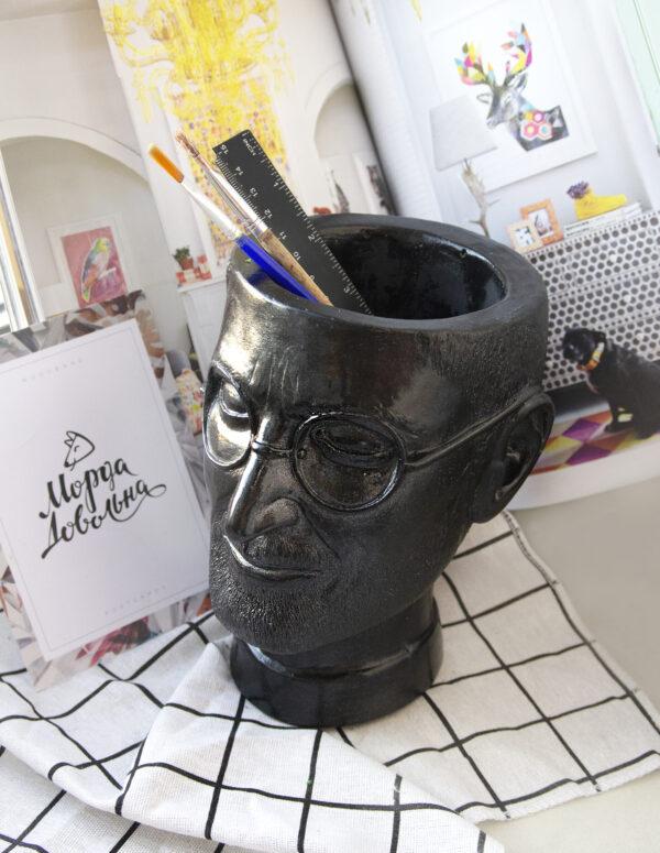 необычная ваза-органайзер, прикольная ваза в форме головы